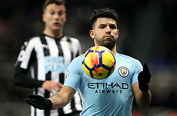 """Manchester City's Sergio Aguero during the Premier League match at St James' Park, Newcastle. PRESS ASSOCIATION Photo. Picture date: Wednesday December 27, 2017. See PA story SOCCER Newcastle. Photo credit should read: Owen Humphreys/PA Wire. RESTRICTIONS: EDITORIAL USE ONLY No use with unauthorised audio, video, data, fixture lists, club/league logos or """"live"""" services. Online in-match use limited to 75 images, no video emulation. No use in betting, games or single club/league/player publications."""