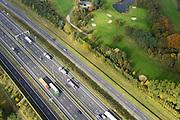Nederland, Noord-Brabant, Eindhoven, 24-10-2013; A2 en A 67, Randweg Eindhoven, Golf & Country Club de Tongelreep.<br /> Motorway and golf course.<br /> luchtfoto (toeslag op standaard tarieven);<br /> aerial photo (additional fee required);<br /> copyright foto/photo Siebe Swart.