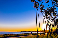 A path along Cabrillo Boulevard (and East Beach), Santa Barbara, California USA.