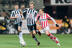 (L-R) Tim Breukers of Heracles Almelo, Vincent Vermeij of Heracles Almelo, Craig Goodwin of Sparta Rotterdam during the Dutch Eredivisie match between Heracles Almelo and Sparta Rotterdam at Polman stadium on December 14, 2017 in Almelo, The Netherlands