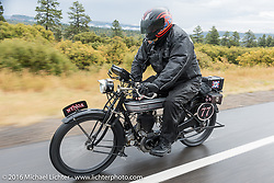 Richard Asprey of Texas riding his 1915 Norton down the west side of Wolf Creek Pass during the Motorcycle Cannonball Race of the Century. Stage-10 ride from Pueblo, CO to Durango, CO. USA. Tuesday September 20, 2016. Photography ©2016 Michael Lichter.