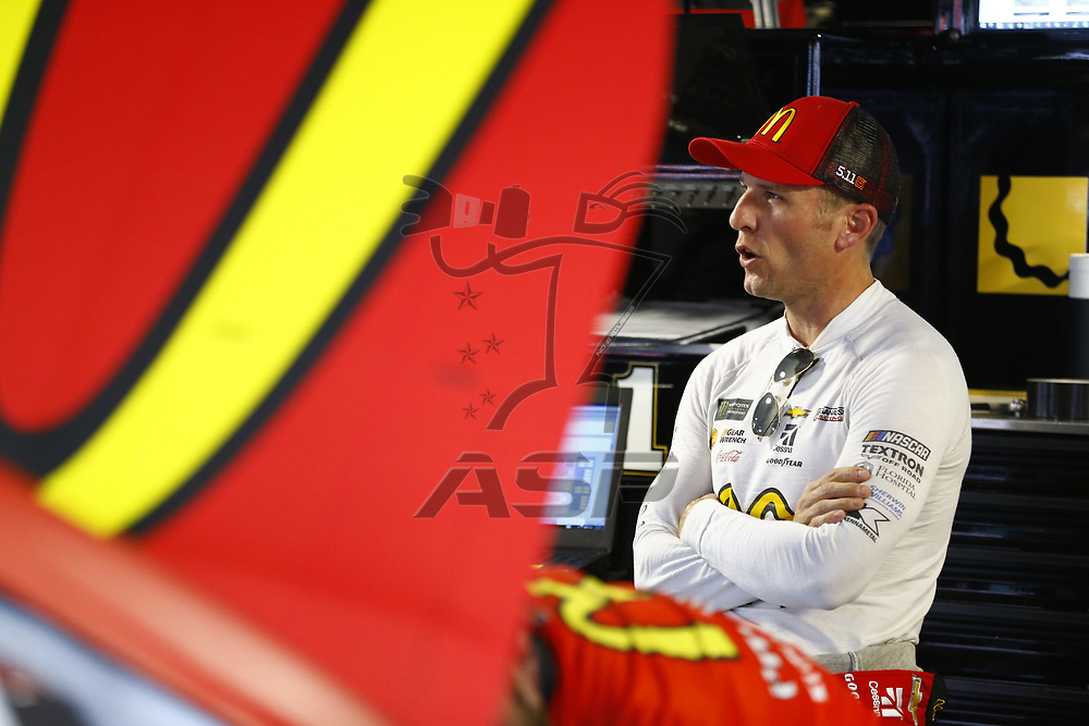 October 28, 2017 - Martinsville, Virginia, USA: Jamie McMurray (1) hangs out in the garage during practice for the First Data 500 at Martinsville Speedway in Martinsville, Virginia.