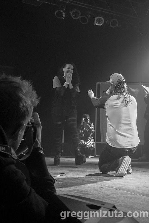 Andy Heikkila proposes to Miranda Palacio during the Spirit of Hip Hop show on December 2, 2016 at the Knitting Factory in Boise, Idaho. She said yes! <br /> <br /> This benefit show, presented by Earthlings Entertainment, utilized their hip hop roots to raise funds for Hays House and Idaho Food Bank.<br /> <br /> Performers included Freedom Renegades, Illest*Lyricists, Exit Prose, CoreVette Dance Crew, Dirtydice, Dedicated Servers, Earthlings Entertainment, DJ Manek and Auzomatik.