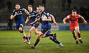 Sale Sharks scrum-half Will Cliff makes a break during a Gallagher Premiership Rugby Union match, Sale Sharks -V- Leicester Tigers, Friday, Feb. 21, 2020, in Eccles, United Kingdom. (Steve Flynn/Image of Sport via AP)