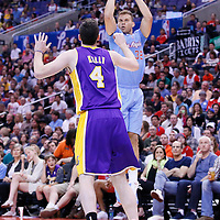 06 April 2014: Los Angeles Clippers forward Blake Griffin (32) takes a jumpshot over Los Angeles Lakers forward Ryan Kelly (4) during the Los Angeles Clippers 120-97 victory over the Los Angeles Lakers at the Staples Center, Los Angeles, California, USA.