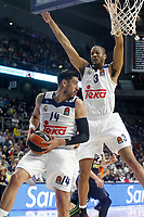 Real Madrid's Gustavo Ayon (l) and Anthony Randolph during Euroleague, Regular Season, Round 29 match. March 31, 2017. (ALTERPHOTOS/Acero)
