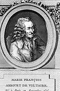 Francois Marie Arouet de Voltaire  (1694-1778)  French author, playwright, satirist, man of letters and central figure in the French Enlightenment.  Copperplate engraving.