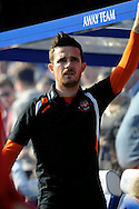 Blackpool Caretaker Manager Barry Ferguson watches his side warm up before kick off .Skybet football league championship match , Queens Park Rangers v Blackpool at Loftus Road in London  on Saturday 29th March 2014.<br /> pic by John Fletcher, Andrew Orchard sports photography.