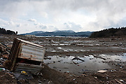 Effects of the tsunami that struck north east Japan on March 11th leveling the town of Rikuzen Takata, Iwate, Japan. March 17th 2011