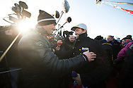 """The Vendee Globe 2016 - 2017<br /> British yachtsman Alex Thomson skipper of the 'Hugo Boss""""  IMOCA Open60. He finished 2nd in the Vendee Globe solo non stop around the world yacht race. Shown here in the Sables d Olonne port celebrating with the winner of the race Armel Le Cléac'h . He completed the solo non stop around the world race in 74days. 19hours and 35 minutes<br /> <br /> Photo by Lloyd Images"""