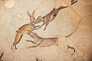 6th century Byzantine Roman hare hunt mosaics from the peristyle of the Great Palace from the reign of Emperor Justinian I. Istanbul, Turkey. .<br /> <br /> If you prefer to buy from our ALAMY PHOTO LIBRARY  Collection visit : https://www.alamy.com/portfolio/paul-williams-funkystock/great-palace-mosaic-istanbul.html<br /> <br /> Visit our ROMAN MOSAIC PHOTO COLLECTIONS for more photos to download  as wall art prints https://funkystock.photoshelter.com/gallery-collection/Roman-Mosaics-Art-Pictures-Images/C0000LcfNel7FpLI