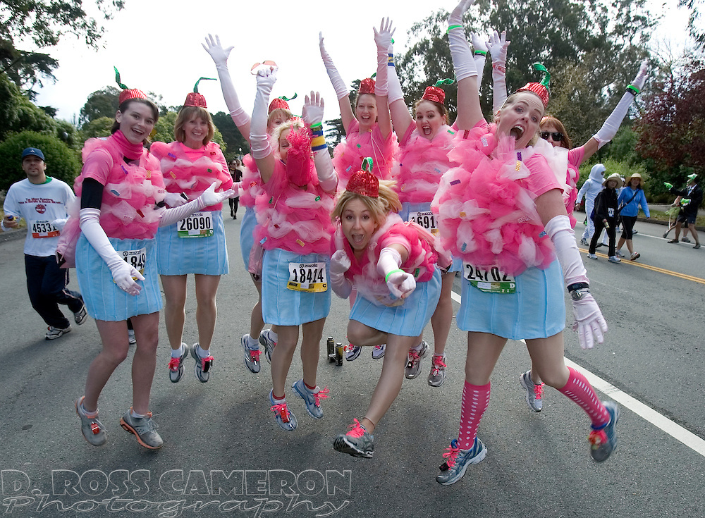 A group of Southern California women who came dressed as cupcakes pose for a photograph during the 100th running of the Bay to Breakers 12K through San Francisco, Sunday, May 15, 2011. (Photo by D. Ross Cameron)