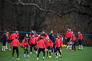 Cardiff city team training at the Vale, Hensol, near Cardiff on  Friday 10th Jan 2014.<br /> pic by Andrew Orchard, Andrew Orchard sports photography.