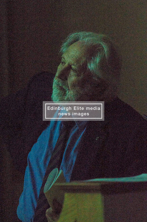 Pictured: Lord David Puttnam watching a pre-debate video <br /> <br /> Scottish event to inform the 'Future for Public Service Television Inquiry' chaired by Lord Puttnam. Speakers are Angela Haggerty, Editor, Common Space; David Fleetwood, Policy Official, Scottish Government; Stuart Cosgrove, journalist, broadcaster and former Head of Programmes (Nations and Regions), Channel 4; Professor Neil Blain, Professor Emeritus of Communications at the University of Stirling; John McCormick FRSE, Chair of the Scottish Screen Leadership Group, and former Controller of BBC Scotland <br /> Ger Harley   EEm 13 April 2016