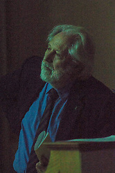 Pictured: Lord David Puttnam watching a pre-debate video <br /> <br /> Scottish event to inform the 'Future for Public Service Television Inquiry' chaired by Lord Puttnam. Speakers are Angela Haggerty, Editor, Common Space; David Fleetwood, Policy Official, Scottish Government; Stuart Cosgrove, journalist, broadcaster and former Head of Programmes (Nations and Regions), Channel 4; Professor Neil Blain, Professor Emeritus of Communications at the University of Stirling; John McCormick FRSE, Chair of the Scottish Screen Leadership Group, and former Controller of BBC Scotland <br /> Ger Harley | EEm 13 April 2016