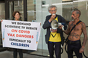 Piers Corbyn speaks outside the Labour Party headquarters immediately following the conclusion of a protest lobby by supporters of left-wing Labour Party groups on 20th July 2021 in London, United Kingdom. The lobby had been organised to coincide with a Labour Party National Executive Committee meeting to determine whether to proscribe four organisations: Resist, Labour Against the Witchhunt, Labour In Exile and Socialist Appeal.