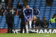 Chelsea's John Terry pulls his socks up before the Barclays Premier League match between Chelsea and Manchester United at Stamford Bridge, London, England on 7 February 2016. Photo by Ellie Hoad.