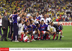 ©Lionel Hahn/ABACA.10925.20.Paris-France,12/07/ 1998. France made soccer history here on Sunday night, when the underdogs beat defending champions Brazil 3-0 to win the last World Cup this century before a delirious crowd of 80,000 people.