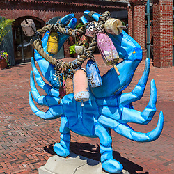 Baltimore, MD, USA - July 26, 2011: A large blue crab sculpture on display at Fell's Point in Baltimore.