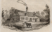 The birthplace of Robert Bloomfield (1766-1823) at Honington, Suffolk. Bloomfield, English farm labourer, shoemaker and poet, remembered now mainly as the author of 'The Farmer's Boy' (1800) a verse tale illustrated by Thomas Bewick. Woodcut from 'The Table Book' by William Hone (London, 1828).
