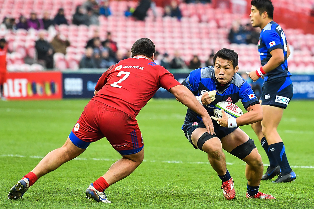 Masakatsu Nishikawa of Japan is tackled by Stanislav Selskii of Russia <br /> <br /> Photographer Craig Thomas<br /> <br /> Japan v Russia<br /> <br /> World Copyright ©  2018 Replay images. All rights reserved. 15 Foundry Road, Risca, Newport, NP11 6AL - Tel: +44 (0) 7557115724 - craig@replayimages.co.uk - www.replayimages.co.uk
