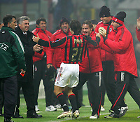 Milano 6/12/2005 Champions League <br /> <br /> Milan Schalke 04 3-2<br /> <br /> Andrea Pirlo celebrates after scoring with Milan trainer Carlo Ancelotti and other teammates<br /> <br /> Andrea Pirlo corre a festeggiare con Carlo Ancelotti dopo il gol<br /> <br /> Photo Andrea Staccioli Graffiti