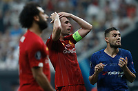 ISTANBUL, TURKEY - AUGUST 14: Jordan Henderson (C) of Liverpool reacts after missing his chance during the UEFA Super Cup match between Liverpool and Chelsea at Vodafone Park on August 14, 2019 in Istanbul, Turkey. (Photo by MB Media/Getty Images)