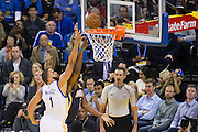 Golden State Warriors center JaVale McGee (1) attempts to block a lay up by Indiana Pacers center Al Jefferson (7) at Oracle Arena in Oakland, Calif., on December 5, 2016. (Stan Olszewski/Special to S.F. Examiner)