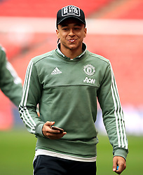 Manchester United's Jesse Lingard checks out the pitch ahead of the Emirates FA Cup semi-final match at Wembley Stadium, London.