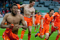 Tonny Trindade de Vilhena of Netherlands celebrate during trophy ceremony after winning the UEFA European Under-17 Championship Final match between Germany and Netherlands on May 16, 2012 in SRC Stozice, Ljubljana, Slovenia. Netherlands defeated Germany after penalty shots and became European Under-17 Champion 2012. (Photo by Urban Urbanc / Sportida.com)
