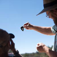 Jaden Guess, left, and Dave McNitt look at a piece of agate at the farmers market in Candy Kitchen Wednesday.
