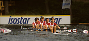 Bled, Slovenia, YUGOSLAVIA.  GBR M4X, Bow Richard STANHOPE, Rory HENDERSON, Martin CROSS and Chris ANDREWS 1989 World Rowing Championships, Lake Bled. [Mandatory Credit. Peter Spurrier/Intersport Images]