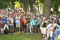 August 9, 2018 - St. Louis, Missouri, U.S. - ST. LOUIS, MO - AUGUST 09: The overflow crowd steps back to let Tiger Woods hit a shot from the rough on the #15 hole during the first round of the PGA Championship on August 09, 2018, at Bellerive Country Club, St. Louis, MO.  (Photo by Keith Gillett/Icon Sportswire) (Credit Image: © Keith Gillett/Icon SMI via ZUMA Press)