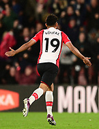Sofiane Boufal of Southampton celebrates after he scores his teams 1st goal to make it 1-0 .Premier league match, Southampton v West Bromwich Albion at the St. Mary's Stadium in Southampton, Hampshire, on Saturday 21st  October 2017.<br /> pic by Bradley Collyer, Andrew Orchard sports photography.