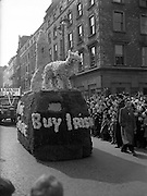 "17/03/1954<br /> 03/17/1954<br /> 17 March 1954<br /> St. Patrick's Day Industrial Parade, Dublin. ""Buy Irish"" float on Westmoreland Street."