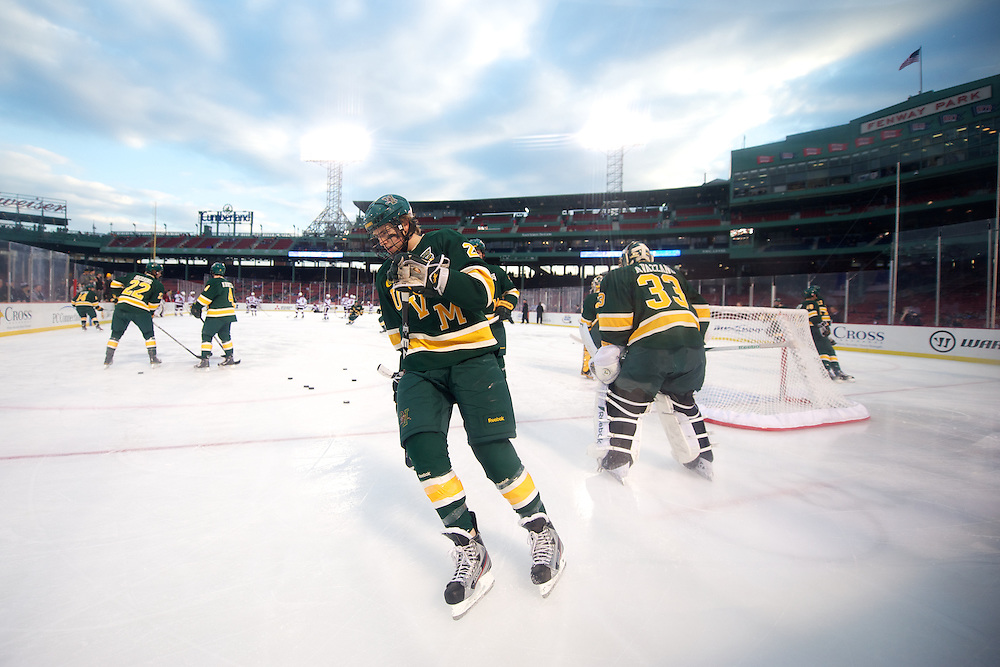 The men's hockey game between the UMass Minutemen and the Vermont Catamounts in the first game of the Sun Life Frozen Fenway 2012 doubleheader at Fenway Park on Saturday January 7, 2012 in Boston, Massachusetts.