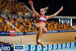 Kika van Bergen en Henegouwen in action on the high jump during AA Drink Dutch Athletics Championship Indoor on 20 February 2021 in Apeldoorn.