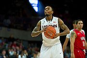 DALLAS, TX - JANUARY 4: Ryan Boatright #11 of the Connecticut Huskies shoots a free-throw against the SMU Mustangs on January 4, 2014 at Moody Coliseum in Dallas, Texas.  (Photo by Cooper Neill) *** Local Caption *** Ryan Boatright