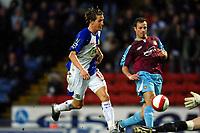 Photo: Paul Greenwood.<br />Blackburn Rovers v West Ham United. The Barclays Premiership. 17/03/2007.<br />Balckburn's Morten Gamst Pederson (L) shoots over the advancing Robert Green, but misses an open goal