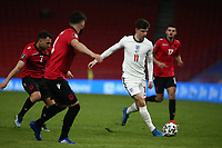 TIRANA, ALBANIA - MARCH 28: Mason Mount ion England runs through the Albania defence during the FIFA World Cup 2022 Qatar qualifying match between Albania and England at the Qemal Stafa Stadium on March 28, 2021 in Tirana, Albania. Sporting stadiums around Europe remain under strict restrictions due to the Coronavirus Pandemic as Government social distancing laws prohibit fans inside venues resulting in games being played behind closed doors (Photo by MB Media)