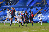 Tranmere and Bolton players compete for the ball during the EFL Sky Bet League 2 match between Tranmere Rovers and Bolton Wanderers at Prenton Park, Birkenhead, England on 23 January 2021.
