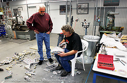 Arlen Ness with Danny Gray as Danny makes the seat for the Top Banana Biker Build-Off bike on site. Dublin, CA. 2004. Photograph ©2004 Michael Lichter