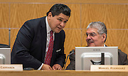 Houston ISD Superintendent Richard Carranza talks with Board President Manuel Rodriguez before a Houston ISD Board of Trustee meeting, October 13, 2016.