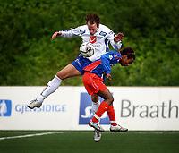 Fotball, 1236. juli 2006, Adeccoligaen, Tromsdalen - FK Haugesund<br /> Mohammed Ahamed, Tromsdalen og Ivar Arnljot Sandvik, Haugesund<br /> Foto: Tom Benjaminsen / DIGITALSPORT