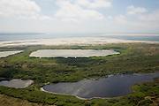 Nederland, Noord-Holland, Texel, 14-07-2008; Nationaal Park Duinen van Texel, De Hors, met in de voorgrond de Horsmeertjes; links aan de horizon kopvan Noord-Holland bij Den Helder, rechst Noorderhaaks; strandvlakte is ontstaan uit aan het eiland vast geraakte zandplaten; zandplaat, strand, zand, stuiven. .luchtfoto (toeslag); aerial photo (additional fee required); .foto Siebe Swart / photo Siebe Swart