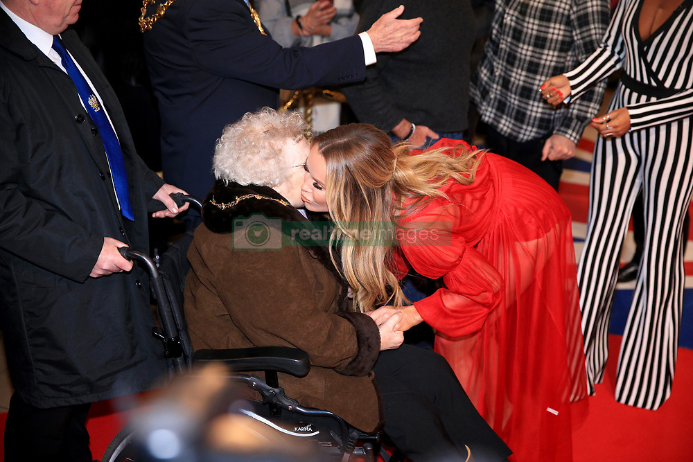 Amanda Holden greets a fan whilst attending the Britain's Got Talent Photocall at the Opera House, Church Street, Blackpool.