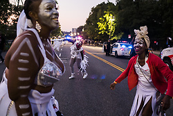 September 4, 2017 - New York, New York, United States - Marchers of J'Ouvert parade marched down Flatbush Ave in Brooklyn, on Monday. Thousands of people participated in the street party to kick off the Caribbean festival. (Credit Image: © Go Nakamura via ZUMA Wire)