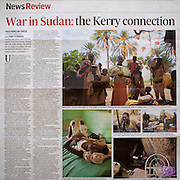 "Tearsheet of ""War in Sudan: the Kerry connection"" published in The Irish Times Weekend Review magazine"
