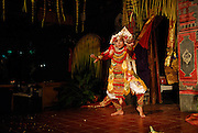 young boy performing the Baris, a traditional Balinese dance depicting the emotions of a warrior preparing for battle. It is considered one of the most demanding of Bali's traditional dances. Sanur, Bali, Indonesia