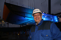 Royal Caribbean International 'Project Genesis' keel laying ceremony in Turku, Finland....The worlds largest cruise ship, currently known as Project Genesis ,  has it's first segment layed in dry Dock in Turku Finland today. The ship is due to be compleated in autumn 2009 and will be 40% bigger than the current world largest cruise ship also owned by Royal Caribbean International....Harri Kulovaara Executive Vice President- Maritime, infront of the first segment of Project Genesis to be laid in the dry dock in Turku, Finland.